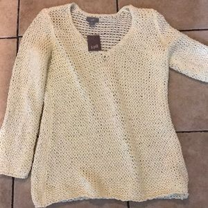 J Jill NWT SP Tunic Top Open Weave Hints of Gold